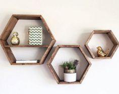 Hexagon Floating Shelves Honeycomb Shelf Home by HaaseHandcraft