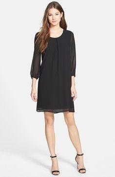 Pleione Three-Quarter Sleeve Pleat Front Dress (Regular & Petite)   Nordstrom