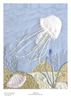 Jellyfish picture - Limited edition giclee print of textile artwork. Quilt for those chilly evenings...