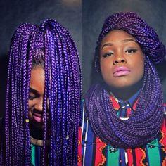 Purple box braids. She's rockin and wrapping them!!!