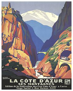 Vintage Travel Poster by Roger Broders: Montagnes, France Art Deco Posters, Vintage Travel Posters, Vintage Postcards, Vintage Luggage, Old Poster, Retro Poster, Poster Wall, Travel Ads, Travel Images