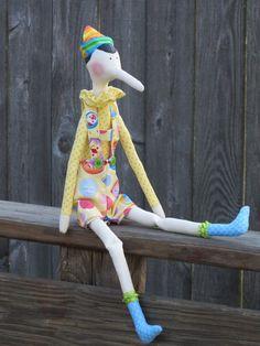 Pinocchio doll cute cloth doll pastel yellow by HappyDollsByLesya