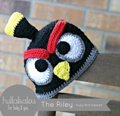 "Angry Bird Inspired Crochet Hat called ""The Riley"" from Hullabalou. Message Nina at www.facebook.com/hullabaloubaby to Order!"