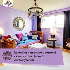 If peace is what you are looking for then get the shade of lavender in your house for a sense of calm and spirituality. Feng Shui Tips For Home, Lavender, Spirituality, Calm, Peace, Bed, House, Furniture, Home Decor