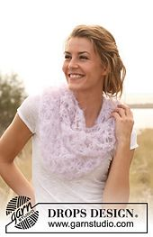 """Ravelry: 127-27 neck warmer with love knots in """"Vienna"""" pattern by DROPS design"""