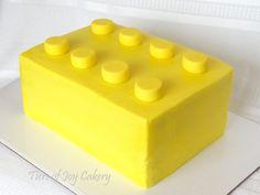 Yellow Lego block cake.