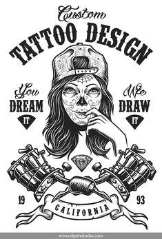 Vintage monochrome tattoo design with tattooed beautiful girl in cap and crossed tattoo machines. Celtic Tattoo Symbols, Celtic Tattoos, Tattoo Salon, Tattoo Studio, Baby Tattoos, Life Tattoos, Samurai Warrior Tattoo, Pocket Watch Tattoos, Silkscreen