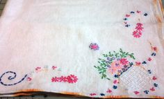 Vintage Tea Tablecloth with Hand Embroidery by VictorianWardrobe, $3.99