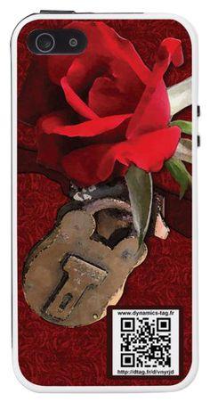 Coque de portable IPhone 5/5s associée à une carte de visite virtuelle via un qrcode : illustration : Cadenas avec rose rouge