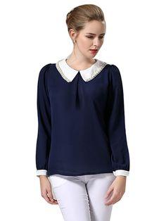 Beading Turn Collar Woman Chiffon Blouse Plus Sizes