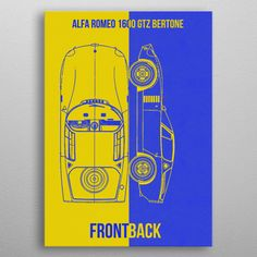 Alfa Romeo 1600 GTZ poster by from collection. By buying 1 Displate, you plant 1 tree. Poster Prints, Posters, Good Company, Alfa Romeo, Ferrari, Metal, Design, Cars, Autos