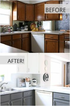 fixer upper inspired kitchen updates using paint! and this faux shiplap backspl… fixer upper inspired kitchen updates using paint! and this faux shiplap backsplash is. New Kitchen Cabinets, Kitchen Paint, Kitchen Redo, Kitchen Ideas, Kitchen Makeovers, Dark Cabinets, Kitchen Backsplash, Upper Cabinets, Kitchen White