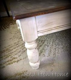 Another coffee table remodel - white legs and stained top