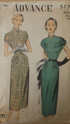Vintage Original ADVANCE Pattern # 5175 Size 14 40's era Dress! L@@K!!