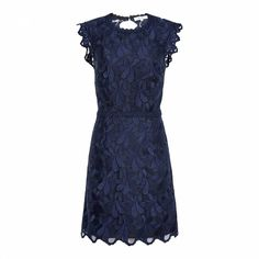 d54ff330b40 Reiss Blue Sami Graphic Lace Dress Open Back Floral Mini Bodycon Party 10  38 New