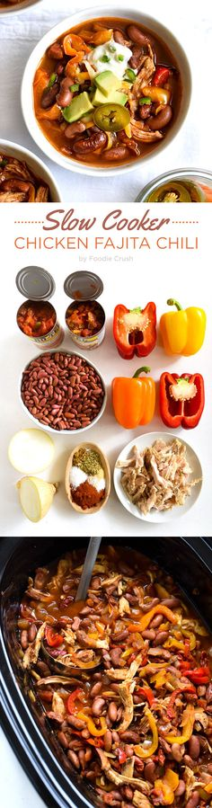 Slow Cooker Chicken Fajita Chili Crockpot Dishes, Crock Pot Soup, Crock Pot Slow Cooker, Crock Pot Cooking, Slow Cooker Chicken, Slow Cooker Recipes, Crockpot Recipes, Cooking Recipes, Healthy Recipes