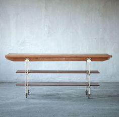 BBPR; Wood and Enameled Metal Work Table, 1950s.