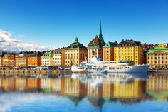 scenic summer panorama of the old town (gamla stan) architecture pier in stockholm sweden Visit Stockholm, Stockholm Sweden, Destinations, French Style Homes, Shops, European Home Decor, Best Kitchen Designs, Beautiful Living Rooms, Historical Sites