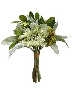 Find hassle-free silk flowers for your wedding day like this beautiful pre-made bouquet of cabbage, sedum succulents, and lamb's ear in two tone green. Finish it with ribbon to keep a simple and natur
