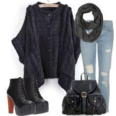 Dark Grey Batwing Sleeve Cable Knit Cardigan