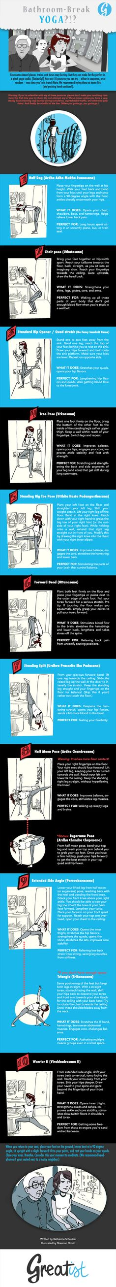 Yoga Poses & Workout : Who says you can't do yoga on a plane, bus, or train? Here are 10 yoga poses you can squeeze in just about anywhere. So pack the sanitizer, and start practicing the moves in this travel-friendly infographic. Yoga Fitness, Fitness Tips, Fitness Motivation, Chakras, Health And Wellness, Health Fitness, Stretching Exercises, Yoga Moves, Stretches