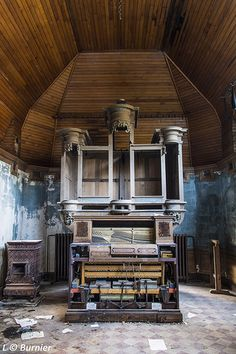 Abandoned Pipe Organ in church