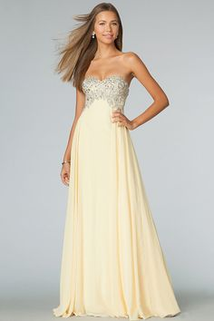 2014 Sweetheart Full Beaded Bodice Prom Dress Empire Waist A Line With Long Chiffon Skirt USD 129.99 VP3Y3FPJK - VoguePromDresses