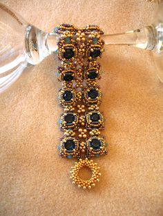 Tutorial for Elizabeth I Cuff Bracelet with Chaton Stones - etsy $10 by Callie Mitchell