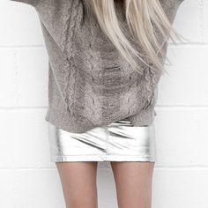 Anine Bing Metallic Leather Skirt FIGTNY