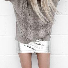 Anine Bing Metallic Leather Skirt FIGTNY