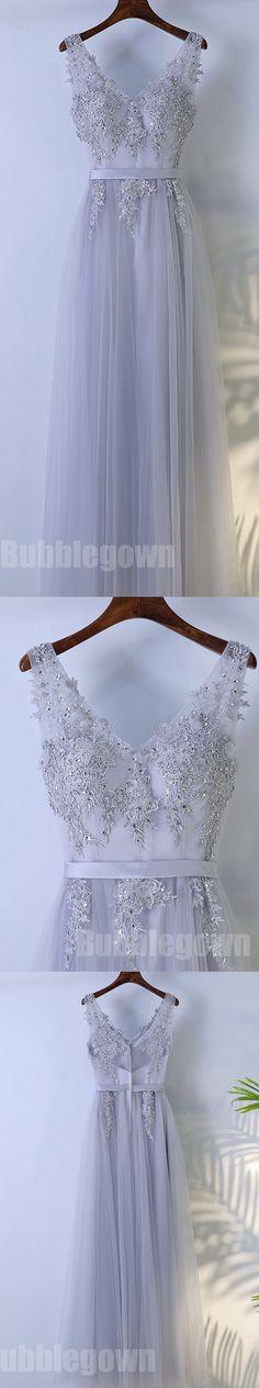 Elegant V Neck Formal Tulle Applique Popular Long Prom Dresses, BGP018 #promdress #promdresses