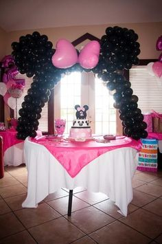 Too Cute Minnie Mouse Balloon arch by: Party Planning Connection   info@PartyPlanningConnection.com   Phone: 301-539-4141   PO Box 1191   La Plata, MD 20646