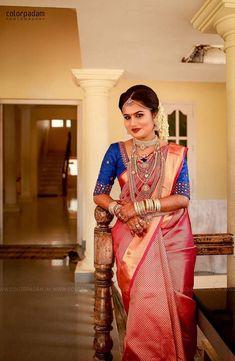 South Indian Wedding Saree, South Indian Weddings, South Indian Bride, Pattu Sarees Wedding, Marathi Bride, Kerala Bride, Bridal Poses, Bridal Blouse Designs, Bridal Beauty