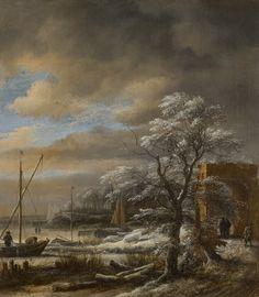 Winter Landscape  Jacob van Ruisdael, Netherlands, about 1628 - 1682 oil on canvas.  #art #paintings #JacobvanRuisdael