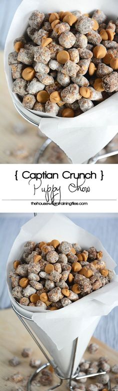 Puppy Chow gets a peanut butter makeover with a childhood classic cereal! Puppy Chow gets a peanut butter makeover with a childhood classic cereal! Puppy Chow Recipes, Chex Mix Recipes, Snack Recipes, Dessert Recipes, Cooking Recipes, Cereal Recipes, Yummy Snacks, Delicious Desserts, Healthy Snacks