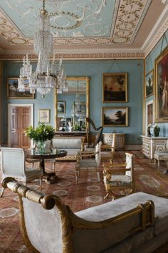 The Drawing Room at Attingham Park, Shropshire, England. The room was designed in the 1780s, but the blue colour scheme was introduced in the early nineteenth century