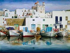 Today we want to show you stunning watercolor paintings of Greece created by artist Pantelis Zografos. For 30 years Pantelis Zografos doesn't live in Greece, but love to Watercolor Landscape, Watercolor Paintings, Nana Mouskouri, Art Et Architecture, Ancient Architecture, Greece Painting, Art Aquarelle, Greek Art, Beautiful Paintings