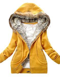 Women's Pure Color Front Zip Long Sleeve Fur Hooded Coat - BuyTrends.com