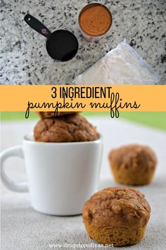 These easy pumpkin muffins are only three ingredients: water, cake mix, and canned pumpkin. They pair perfectly with coffee.