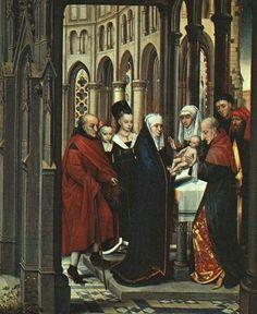 Сретение Господне  Ганс Мемлинг Дата:1463  Стиль:Северное Возрождение  Жанр:религиозная живопись  Медиа:масло,доска  Размеры:48 x 60 см
