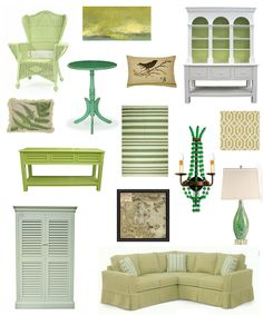Color Inspiration: Shades of Green.  Cottage Style Furniture
