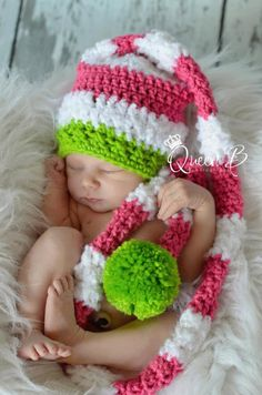 Knit Like Crochet Newborn Baby Girl Christmas Elf Hat in Pink and White Stripes with Bright Lime Green Accents--A Girly Christmas. $25.00, via Etsy.