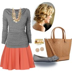 """""""Coral and Grey"""" by fashion-faux-pas on Polyvore"""