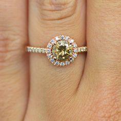 1.12 Carat Brown Diamond Fancy Round Halo Engagement Bridal Ring 14K Rose Gold…