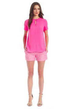Neon Pink Poly Crepe S/S Georgia Blouse and Occitan Jacquard Aria Shorts (Shoshann Spring 2014)
