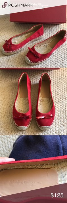 Salvatore Ferragamo espadrilles shoes Adorable red espadrilles by Ferragamo. Never been worn but was a floor sample. Size 7M but runs a little loose. Label detail at ankle area. Ferragamo Shoes Espadrilles