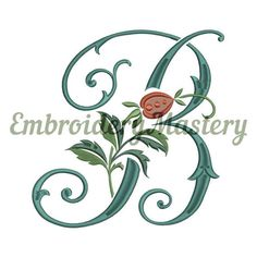 DOG-ROSE letter B MONOGRAM - machine embroidery design, monogram font, embroidery font, monogram embroidery, embroidery pattern