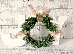 Cottage Chic Ivory Free Standing JOY Letter Sign with Wreath   Rustic Chic Christmas Décor   Front Door Décor   Christmas Mantel Décor