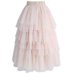 Chicwish Women's Nude Pink Tiered Layered Mesh Ballet Prom Party Tulle... ($60) ❤ liked on Polyvore featuring skirts, knee length tulle skirt, tulle tutu skirt, pink a line skirt, a line midi skirt and midi skirts