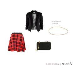 Sem ideias para produção do final de semana? Tá aí uma sugestão, com um lindo #colar folheado da Aura! ;) (Cod. 4336) #moda #trend #xadrez